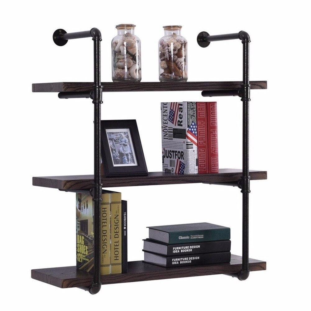 Us 129 0 4 Layer Wall Mounted Vintage Industrial Pipe Shelf Living Room Diy Decor Floating Shelf Hanging Metal Brackets Storage Bookcase In