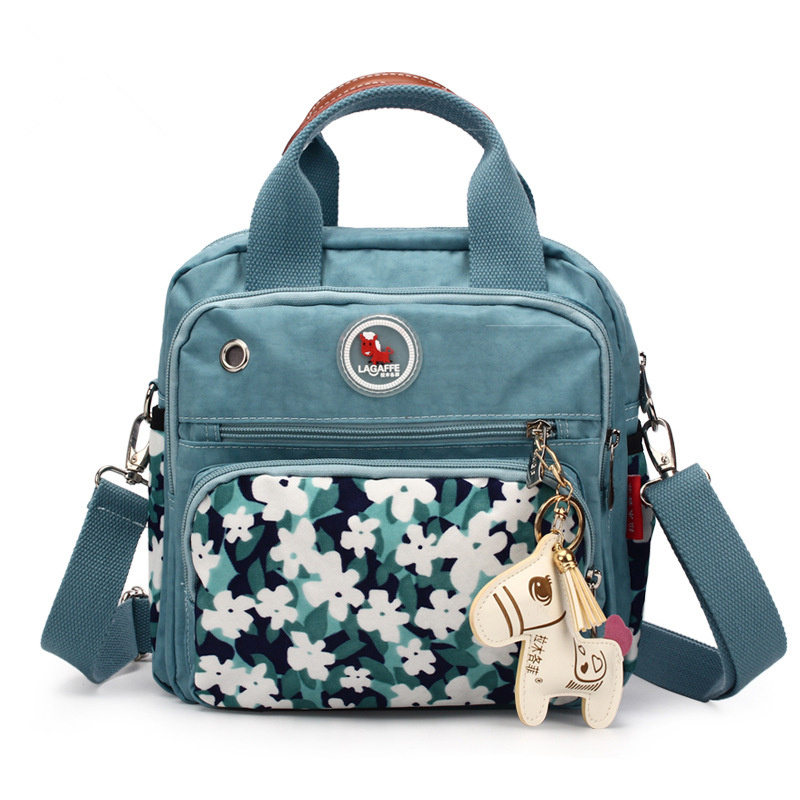 Creative Blue Flower Design Diaper Bag For New Born Infant Portable Waterproof Nylon Maternity Bag 1pcs Easy Tidy Mommy Bag