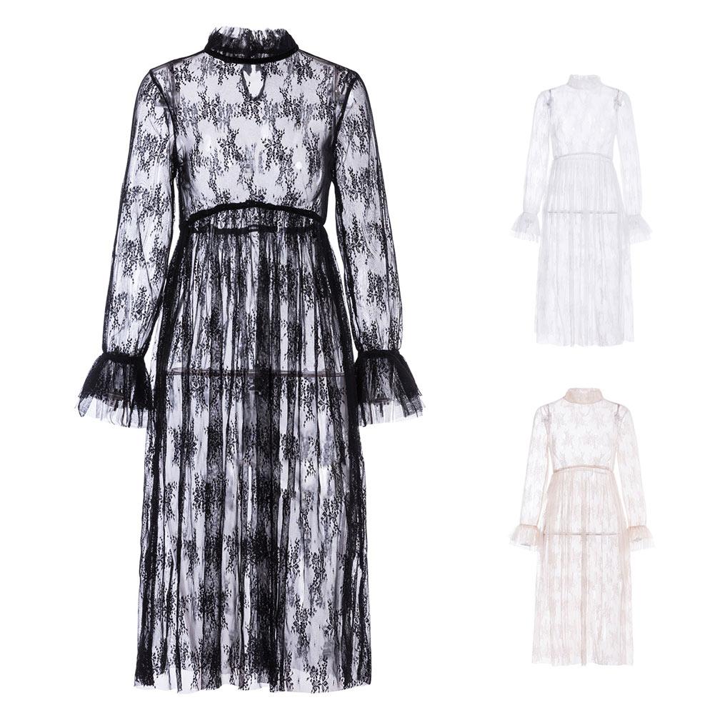 Women Sexy Flowy Solid Dress High Neck Long Sleeve Eyelash Lace See-Through Mesh Dresses FS99