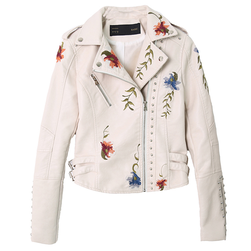 New Female Embroidery Leather Jacekt Jaqueta De Couro Women Slim Rivet Motorcycle Jacket Ladies Vintage White Leather Jacket