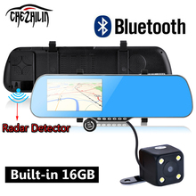 "5 ""Coche DVR espejo Retrovisor de Navegación GPS Bluetooth de Doble Cámara de vehículo Camión De Detectores de Radar gps 16 GB Europa/navitel mapa"