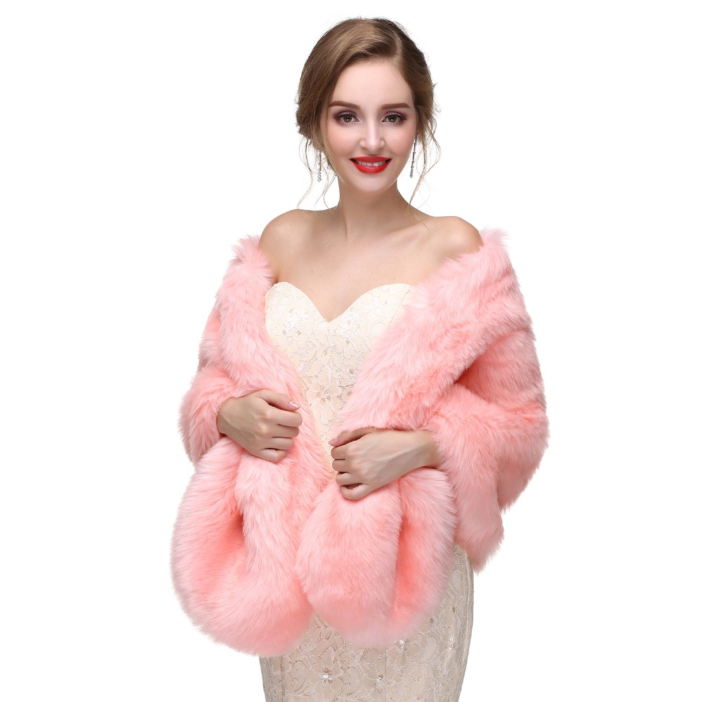 d462484327256 Elegant Pink Winter Faux Fur Wedding Shawls Jacket Boleros Women Bridal  Cape Warm Wraps Wedding Accessories