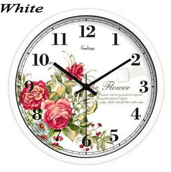 Chinese Flower Style Wall Clock Bedroom Living Room Decorates Household Clock