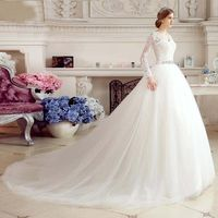 Long Sleeve Wedding Dress Lace Sashes Crystals Tulle Ball Gown Long Wedding China Bridal Wedding Gowns Weddingdress 2018