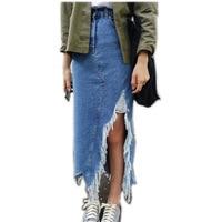 2019 Spring Women Long A shaped skirt in the new high waist Jean Long Maxi skirt Plus Size Denim Korean Skirt z614