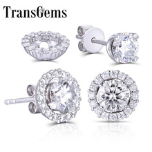 Transgems 14K 585 White Gold 5mm F color Clear Moissanite Stud Earring for Women Push Back with Accents Fine Earrings