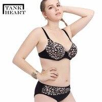 Tank Heart L 4XL Leopard Bikini Plus Size Brazilian Bikini Set Push Up Swimwear Women Swimsuit Beach Swimming Bath Bathing Suit