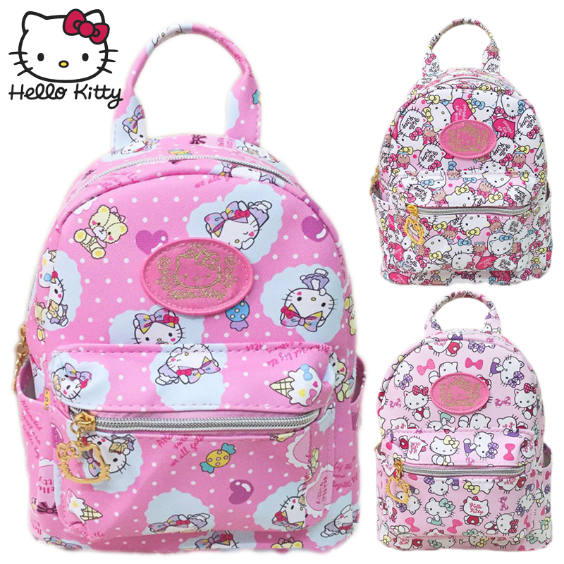 Kawaii Cartoon Pink Hello Kitty Backpacks Waterproof Girls Small Bags Children Schoolbag Kids Shoulder Gifts Good Quality