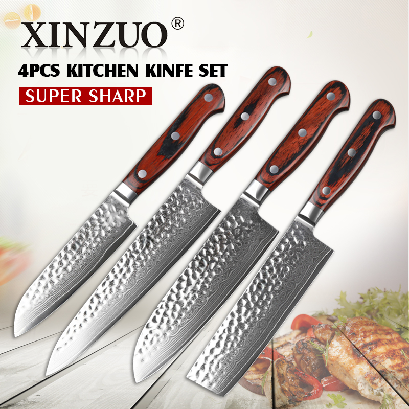 xinzuo 4 pcs kitchen knife set damascus steel chef knife set hammer striae forging cleaver. Black Bedroom Furniture Sets. Home Design Ideas