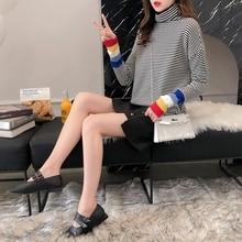 дешево!  ДИЗАЙМАН осенне-зимний свитер в полоску женский свитер вязаная рубашка свободного цвета с высоким  Л