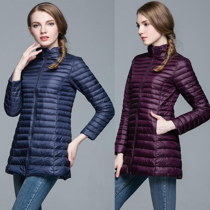 2018 New Winter White Duck   Down   Women Long   Coats   Slim Women   Down   Jackets Female Ultra-lightweight Women Jacket ZLC011