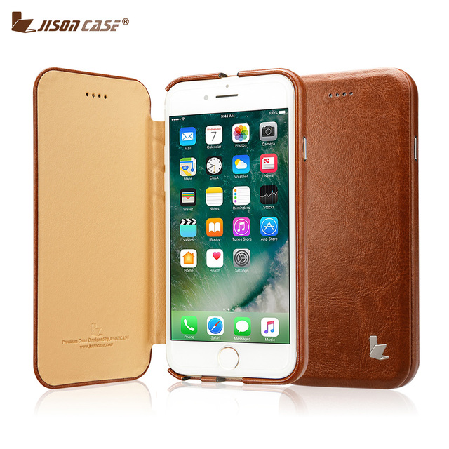 Jisoncase Leather Case for iPhone 8 Plus Case Flip Smart