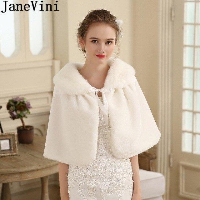 49cfee2c939 JaneVini 2018 Ivory/Red Faux Fur Wedding Shrug Formal Wrap Winter Bolero  Girl Coat Wraps Cape Bridal Cloak Jacket Accessories