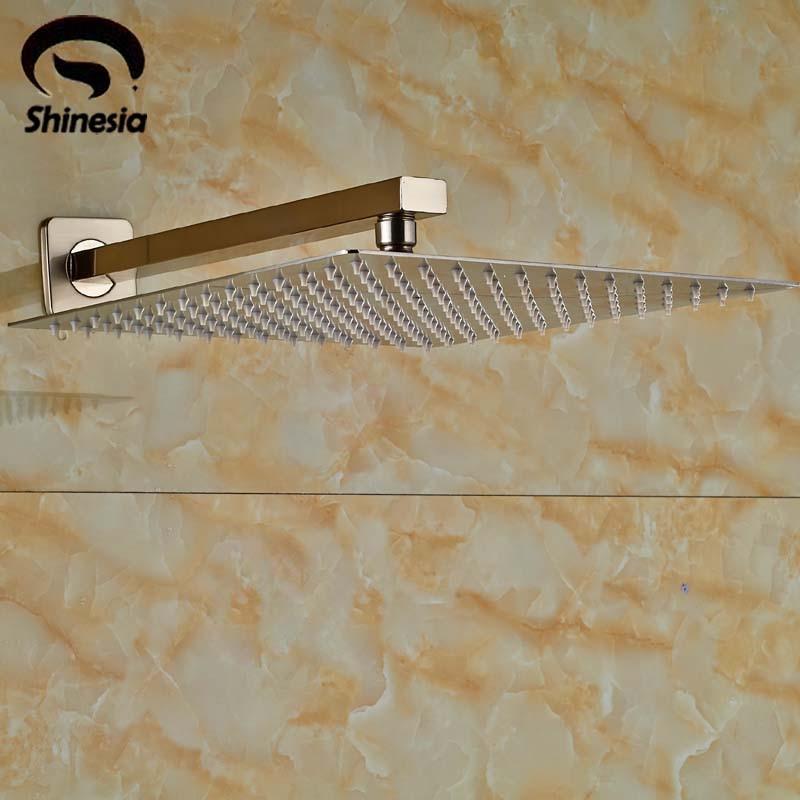 brushed nickel square rain shower head. Brushed Nickel 12  Rainfall Showerhead Bathroom Ultrathin Rain Shower Head with Arm China Popular Buy Cheap lots