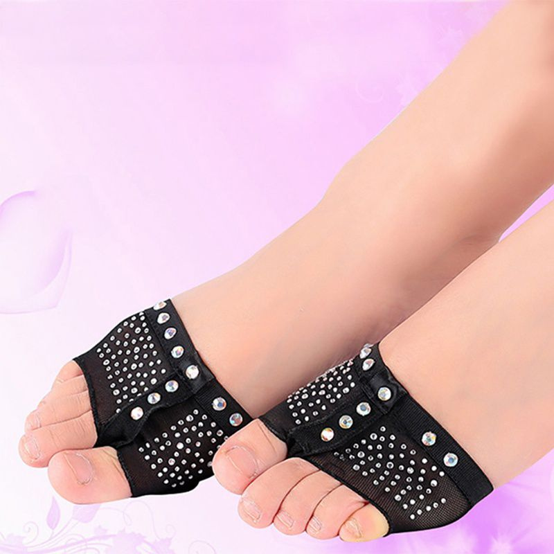 1 Pair Belly Ballet Dance Bright Drilling Toe Pad Practice Shoe Foot Thong Care Tool Half Sole Gym Sock Dance Shoes Pro