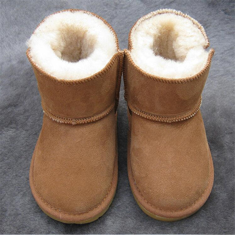 A Winter new children snow boots kids genuine leather Non-slip soft bottom boots warm shoes with fur princess baby girls boots стоимость