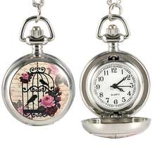 Fashion Vintage Quartz Pocket Watch Alloy Bird Cage Pattern Women Ladies Girls Sweater Chain Necklace Pendant Clock Gift LXH(China)