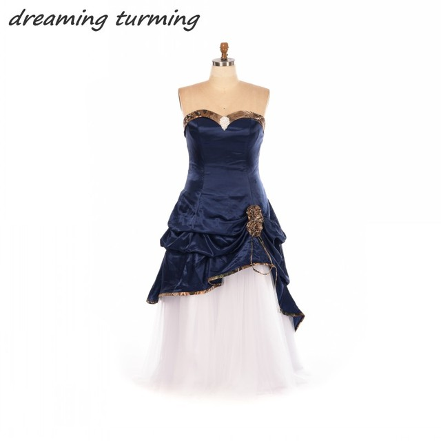 Navy Blue Camouflage Wedding Dresses Fast Delivery Gothic Long White ...