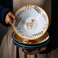 Japanese Retro Animal Ceramic Dinner Soup Bowl Hand painted Forest Fox, cat, fawn Ramen Bowl Porcelain Tableware Free Shipping