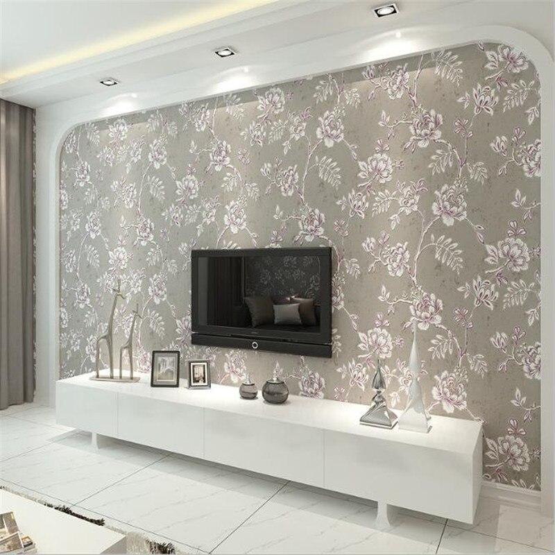 3d Relief moderne Europe luxe fleur papier peint rouleaux blanc et gris papier peint pour salon décor hôtel bureau revêtement mural