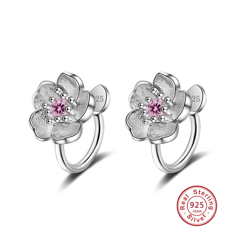 Stud Earrings 100% 925 Sterling Silver Fashion Cherry Blossoms Flower Crystal Ladies`cute Stud Earrings Women Jewelry Birthday Gift Cheap