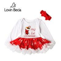 Lovinbecia Mode Baby Christmas Party Mini Bogen Kleid Infant Mädchen Overall Kleidung Neugeborenen Baumwolle Strampler Kleidung Sets