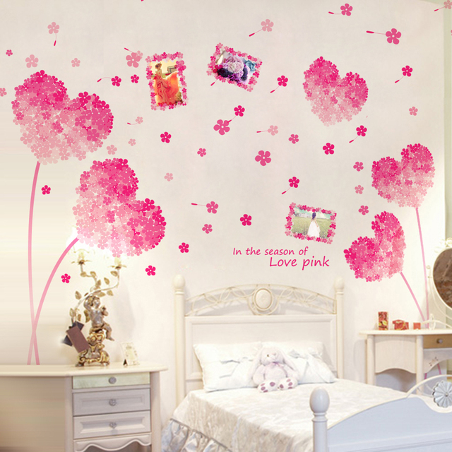 Love Wall Sticker Flower Pink Photo Frames Memory Wall Decals For ...