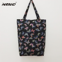 NAVO high quality pongee fabric pocket shopping bag flower dragonfly butterfly print foldable grocery bag shopping bags