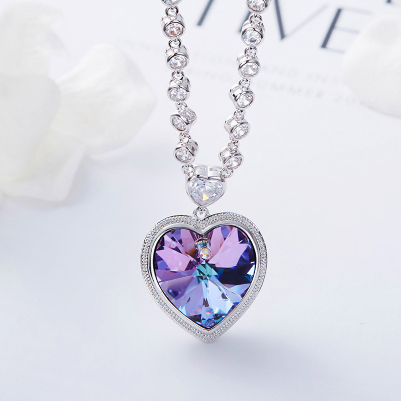Bulage Big Heart Crystals From SWAROVSKI Pendant Necklace Silver Color Max Colar Luxury Jewelry Gift For Women Wedding Lovers