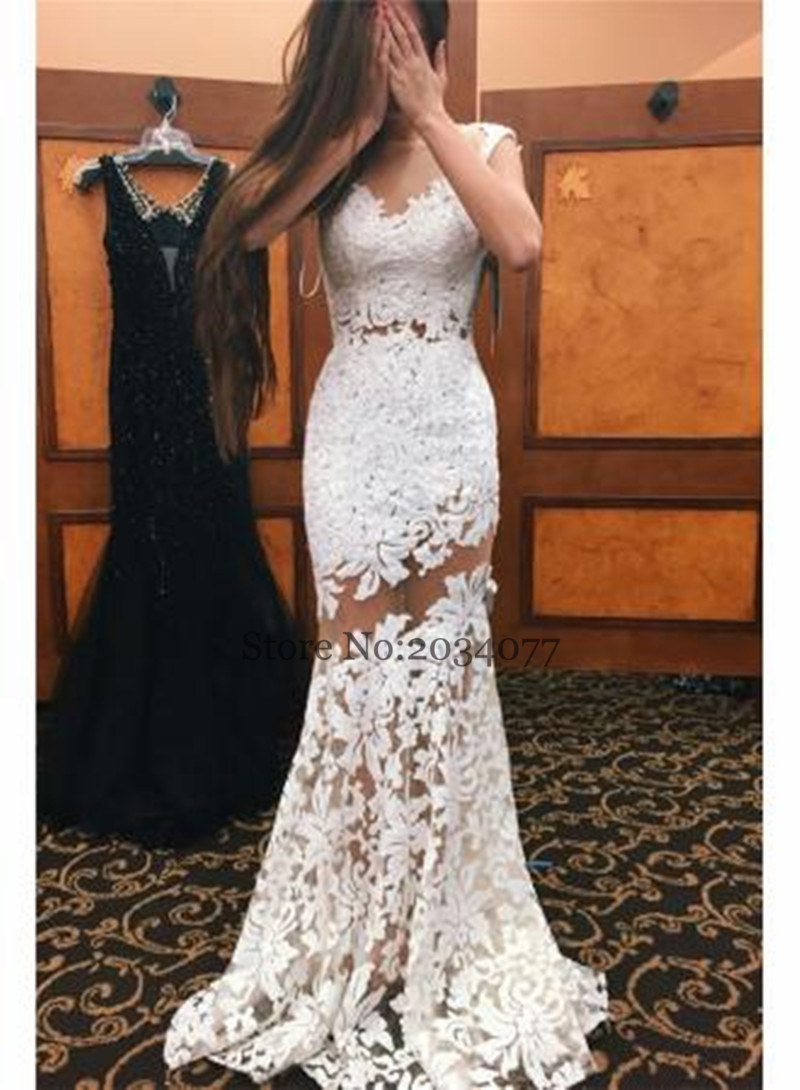 7291bd298558 White Prom Dresses Mermaid   Saddha
