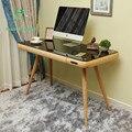 A idéia contratada e contemporâneo quarto Nórdico multi-purpose vidro temperado mesa do computador de mesa de madeira maciça mesa househol