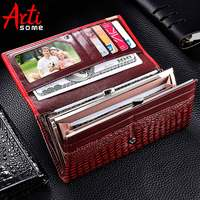 Artisome Women Wallets Luxury Purse PU Leather 3D Alligator Hasp Coin Purse Female Long Clutch Bag