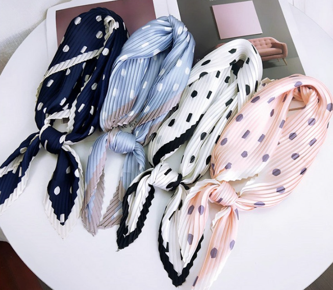 Fashion Pleated Women Square   Scarf   All-match   Wraps   Elegant Floral Dot Spring Summer Head Neck Hair Tie Band Neckerchief 70CM