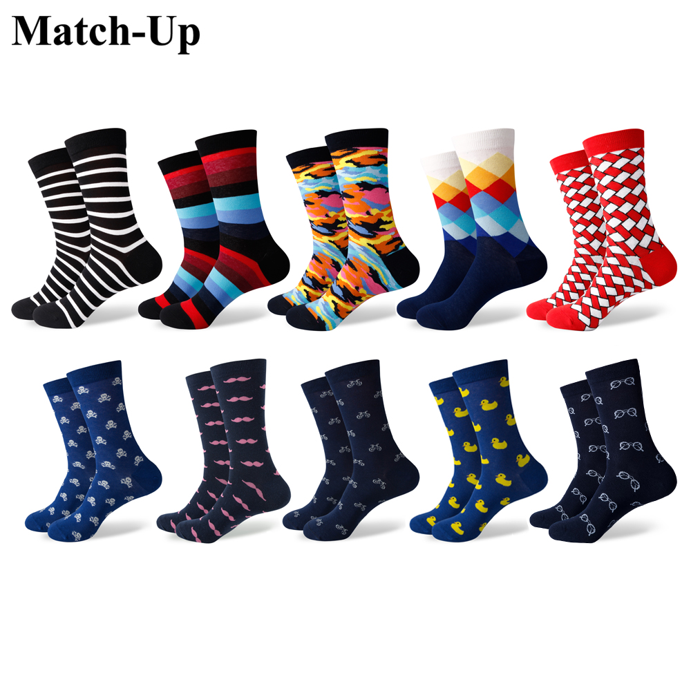 Match Up Men s Combed Cotton Socks Funny camouflage Casual Crew Dress Party Socks Novelty 10