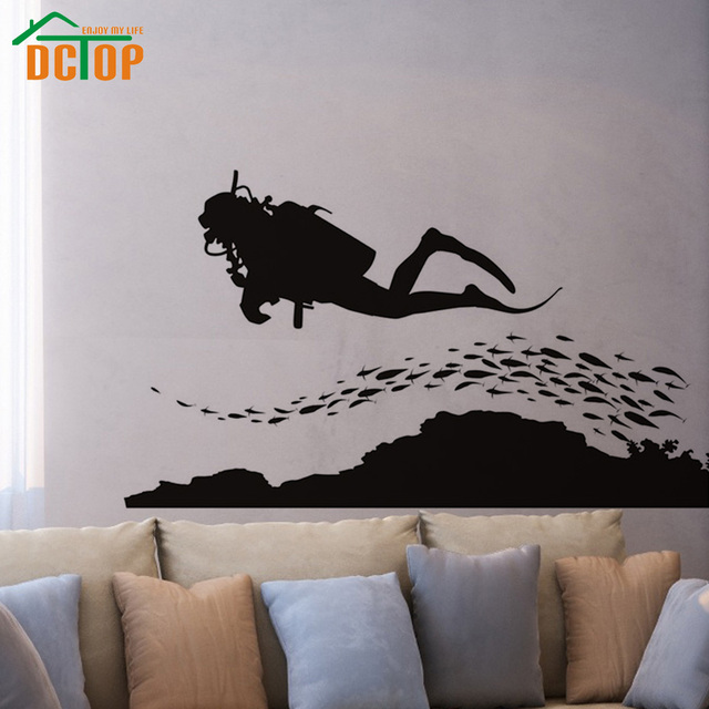DCTOP A Group Of Fish And Scuba Diving Wall Sticker Seafloor Home Decor  Removable Vinyl Wall