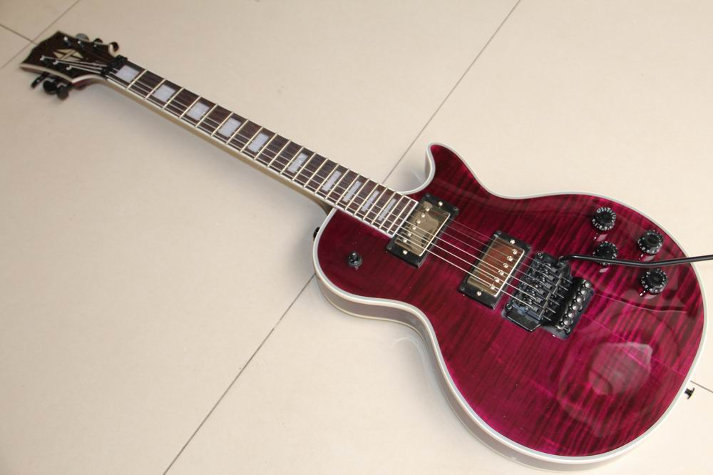 Wholesale New Arrival LP Custom Electric Guitar With Floyd Rose Tremolo In Purple Free Shipping 120308
