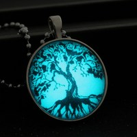 2015 Fashion Glowing Tree Locket Necklaces For Women Men Jewelry Tree Of Life Luminous Necklace Pendants