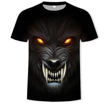 2019 Summer  3D priting  Wolf head round collar T-shirt men t shirt short sleeves streetwear цена