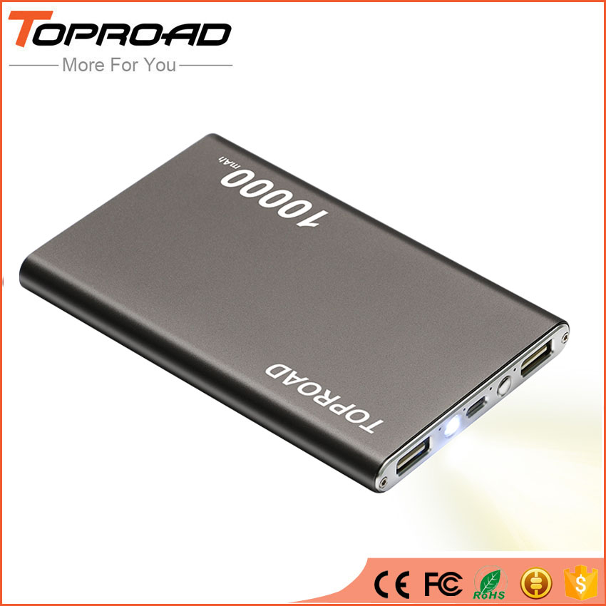 bilder für Ultra slim power bank 10000 mah dual usb externes ladegerät backup tragbare power für iphone xiaomi smartphone tablet
