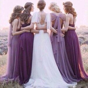Image 2 - Bruidsmeisje Jurken Elegante Lange Wedding Party Dress Plus Size Royal Prom Zus Gast Bruidsmeisje Jurk Tule Robe Soiree 960