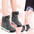 Бесплатная Доставка Моды для Женщин, Кожаные Сапоги 5 см Высота возрастает Замшевые Ботинки Снега Плюшевые Зимние Теплые Сапоги Размер 35 ~ 39