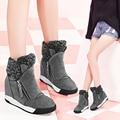 Envío Libre de Las Mujeres de Moda de Cuero Botas de 5 cm de Altura creciente de Gamuza botas de Nieve Botas de Felpa Caliente del Invierno Botas de Tamaño 35 ~ 39