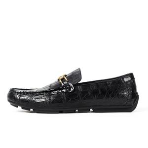 Image 2 - Vikeduo 2020 Handmade Luxury Shoes Fashion Party Casual Designer Moccasins Alligator Genuine Leather Crocodile Skin Men Shoes