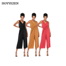 HOYYEZEN Summer Womens Jumpsuit Deep V Workplace/Bar Chiffon Sexy Sweet Sleeveless Halter Jumpsuits Women