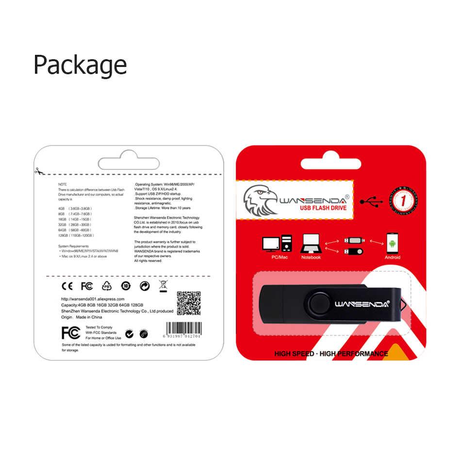 Novo usb 3.0 wansenda otg usb flash drive para smartphone/tablet/pc 8 gb 16 gb 32 gb 64 gb 128 gb pendrive caneta de alta velocidade pacote