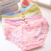 Lovely Sexy Fancy Lace Women Underwear Freshness Candy Color Lady Panties Kawaii Girl Briefs H008