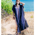 Women's maxi Tunic dress sexy embroidery Ruffles cloak sleeves with slit boho chic moroccan Kaftan robes brand clothing