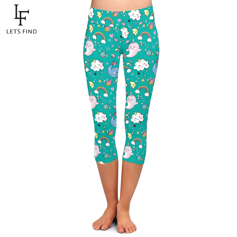 Summer New Fashion Seamless 3D Unicorn Printing Women High Waist Capri Leggings Elastic Milk Silk Plus Size Casual Leggings