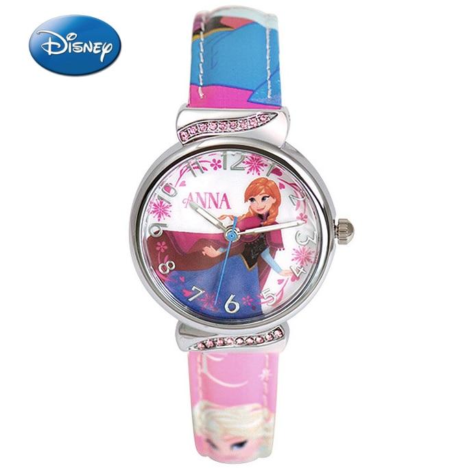 Disney Brand Wristwatches Frozen Sofia Fashion Children Girls Watches Leather Quartz Child Girl Students Cotton Waterproof Watches