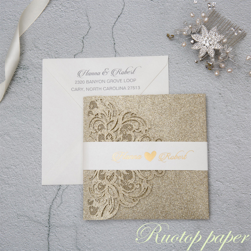 50pcs Sliver Gold Wedding Invitations Card Glitter paper Laser Cutting Wedding Invitation Flowers Hollow Wedding Greeting